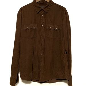 John Varvatos Brown Corduroy Shirt XXL